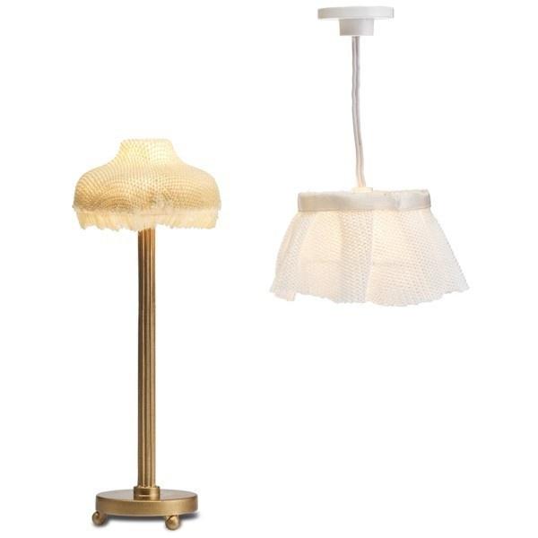 Торшер и потолочная лампа с абажуром