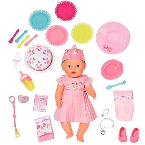 Baby Born в нарядном платье с тортом